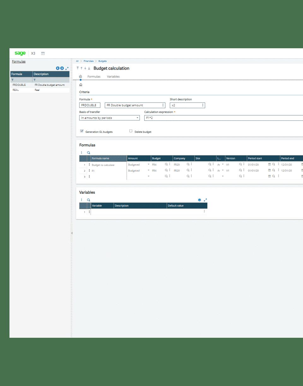 Screenshot of the Sage X3 budget calculation tool