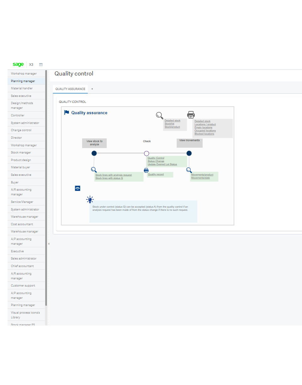 Screenshot of the Sage X3 quality control screen